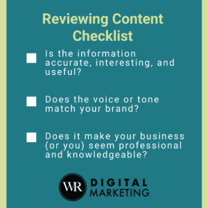 Reviewing Content Checklist